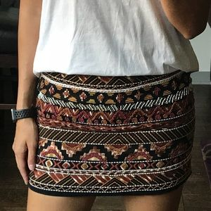 H&M Beaded Tribal Skirt